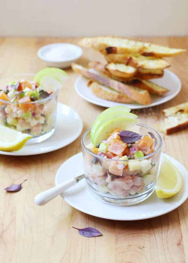 Fresh and Smoked Salmon Apple Tartare with Aged Cheddar Cheese // FoodNouveau.com