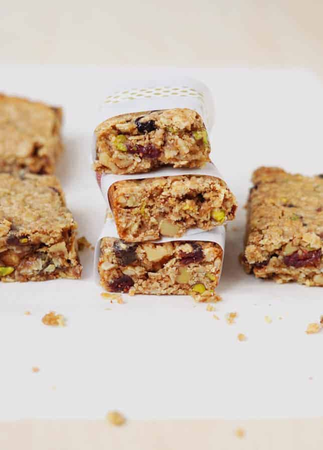 Nut- and Fruit-Packed Chewy Granola Bars // FoodNouveau.com
