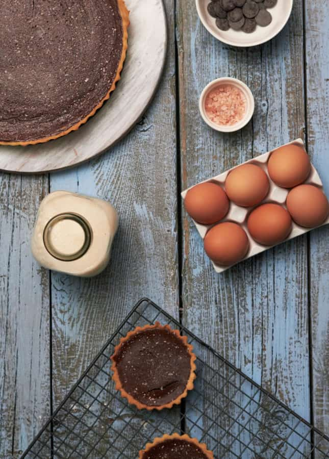 Chocolate Tart and Tartlette, A Lesson in Baking with Chocolate by The Messy Baker // FoodNouveau.com