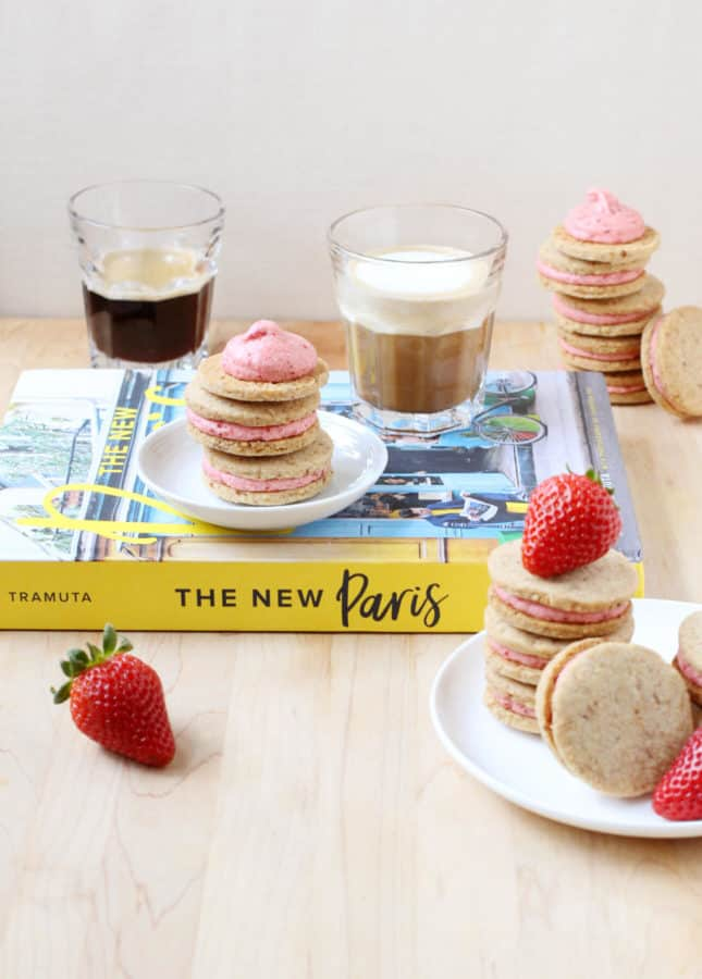 Hazelnut Shortbread Cookies with Roasted Strawberry Buttercream + The New Paris book review // FoodNouveau.com