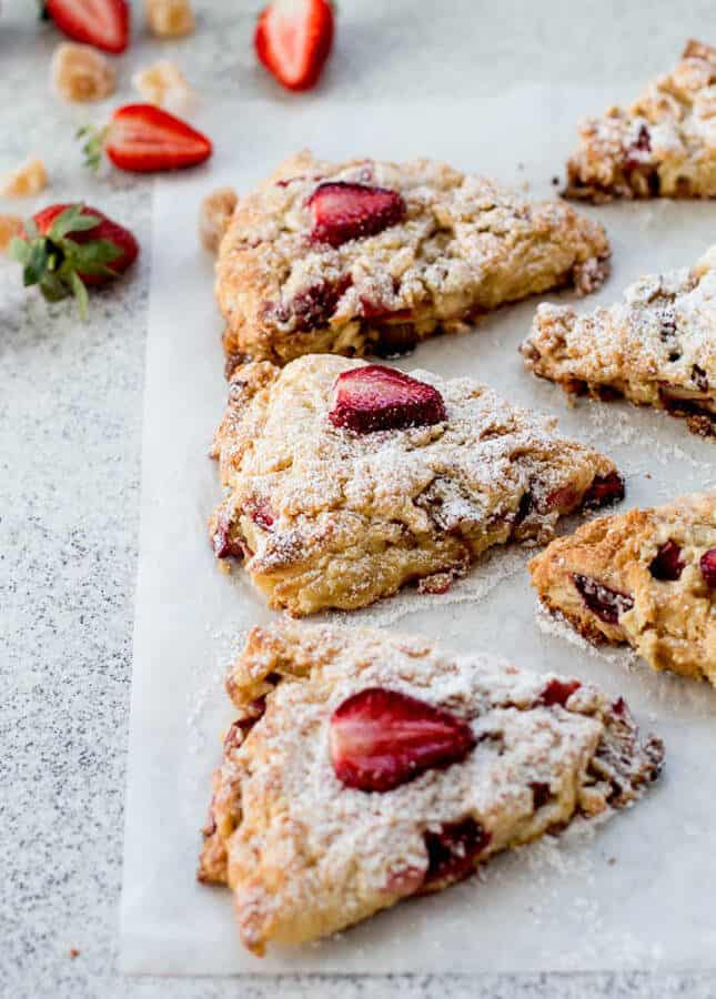Rhubarb, Strawberry & Ginger Buttermilk Scones, by The Brick Kitchen // FoodNouveau.com