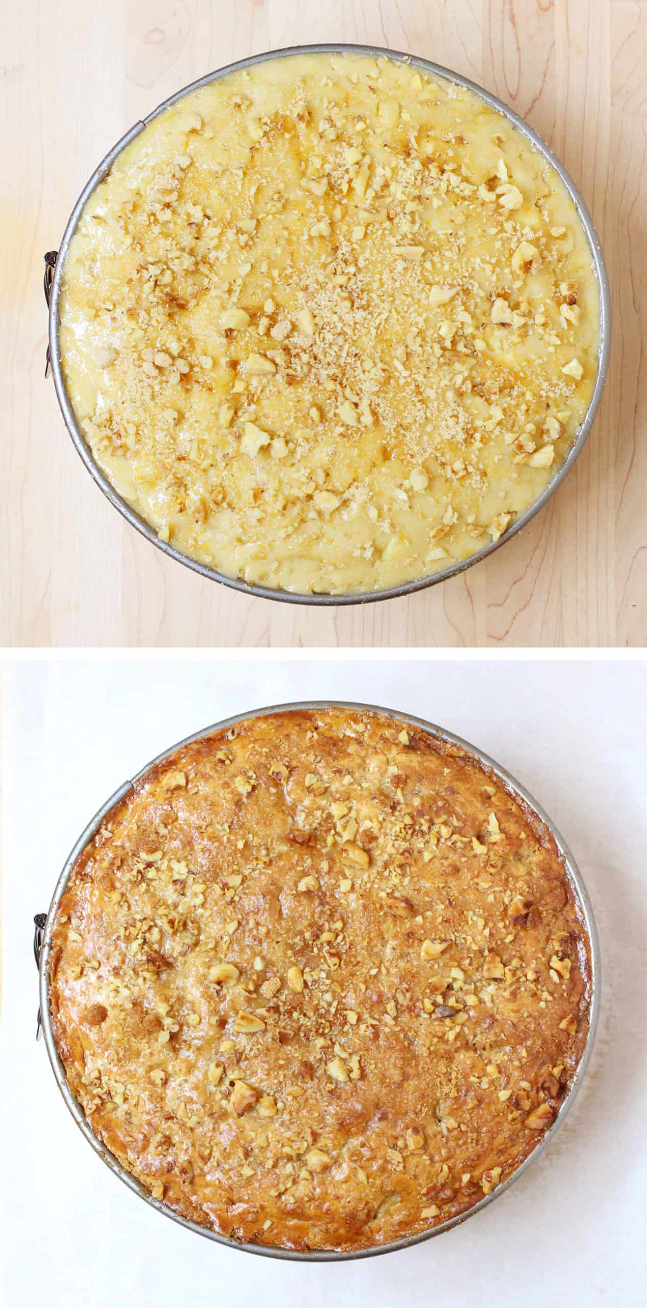 Top shot of a Dutch Apple Pie, before and after baking // FoodNouveau.com