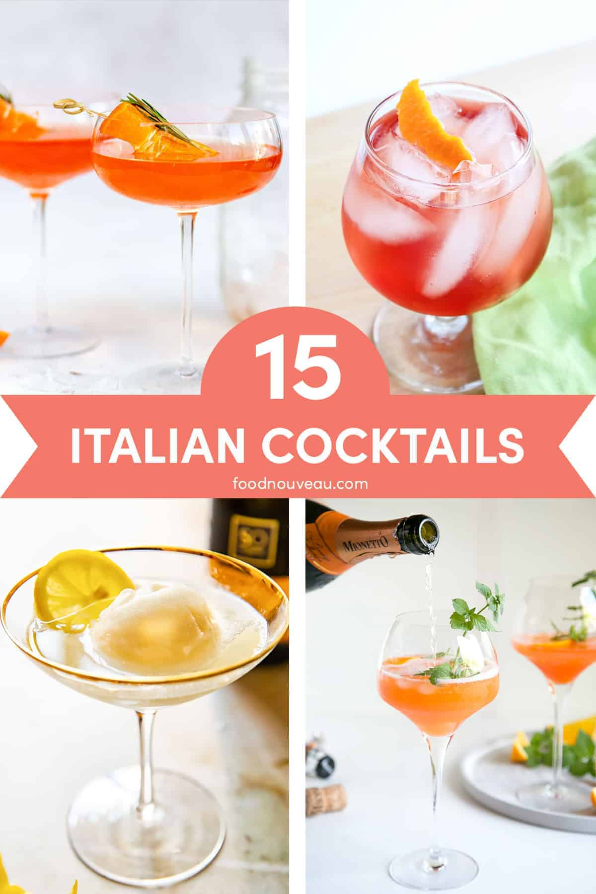 collage of 4 italian cocktails against light backgrounds