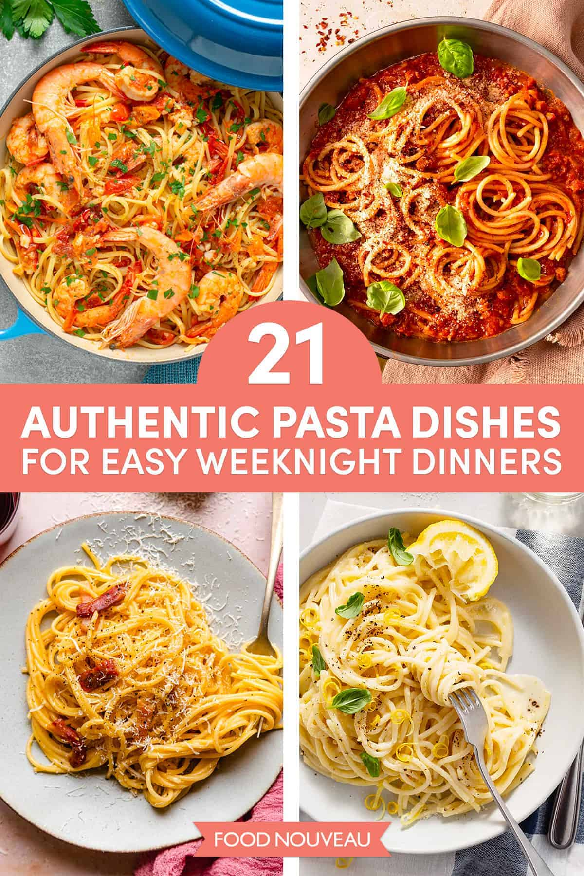 21 Easy Authentic Italian Pasta Dishes for Weeknight Dinners // FoodNouveau.com
